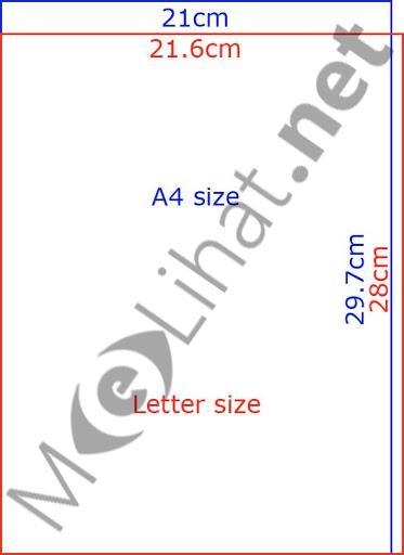 ukuran kertas A4 dalam centimetres (cm)