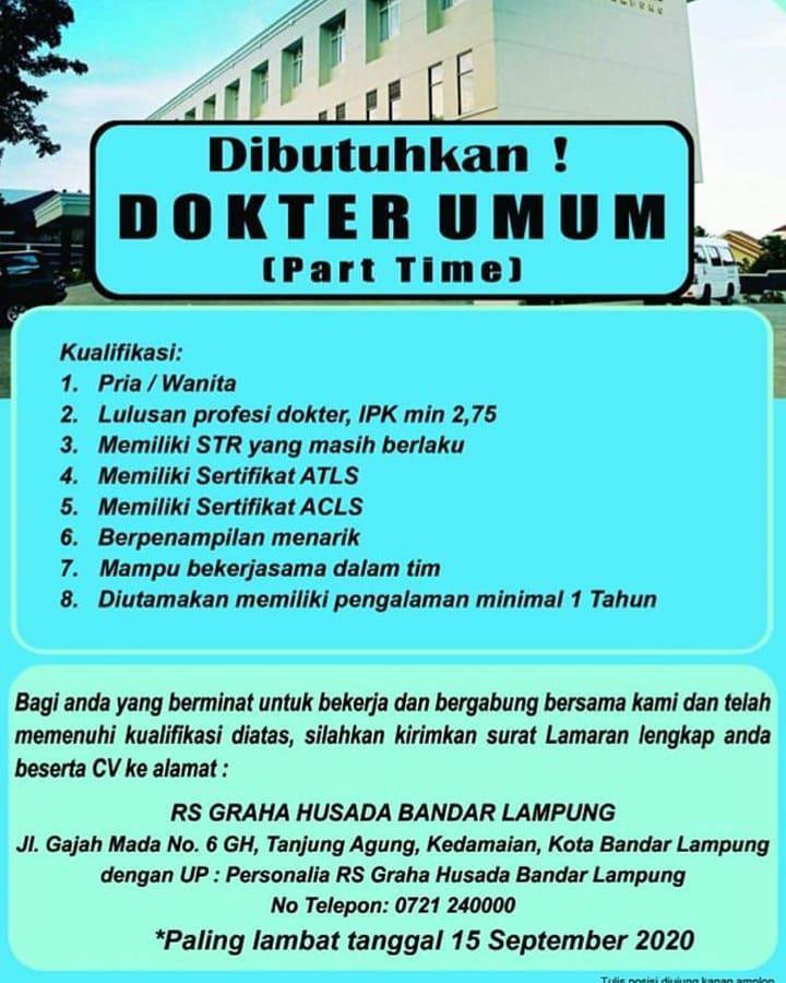 Lowongan Kerja Dokter Umum Rumah Sakit Graha Husada Karir Bandar Lampung