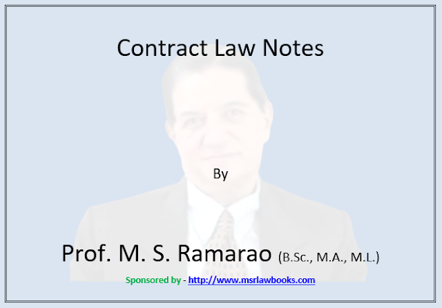Contract Law Notes | Sponsored by MSR Law Books