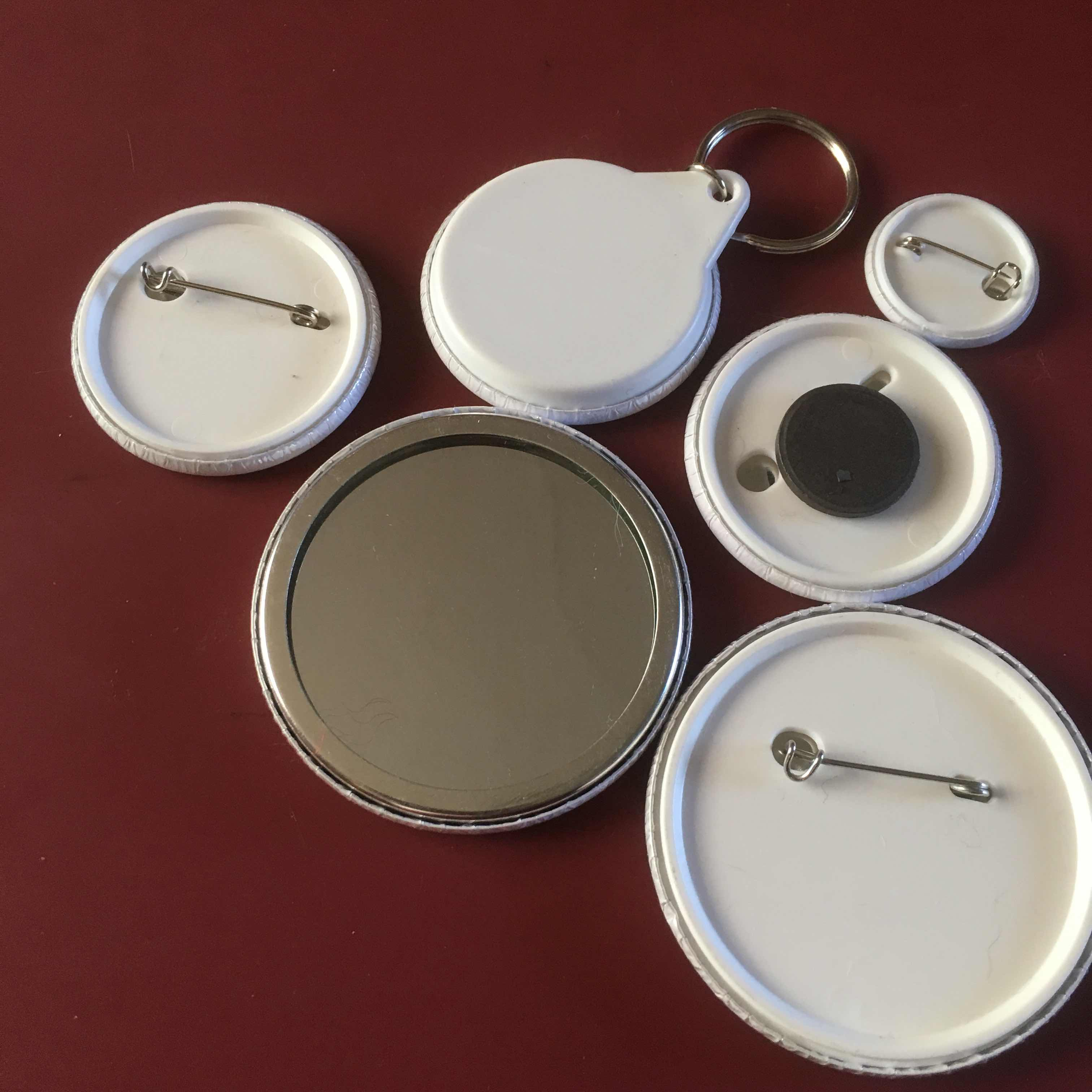 pin, keyring, magnet, mirror