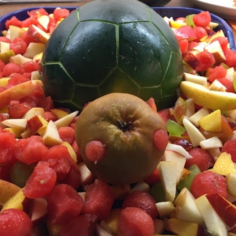 Schildkröte aus einer Melone für Obstplatte zum Kindergeburtstag