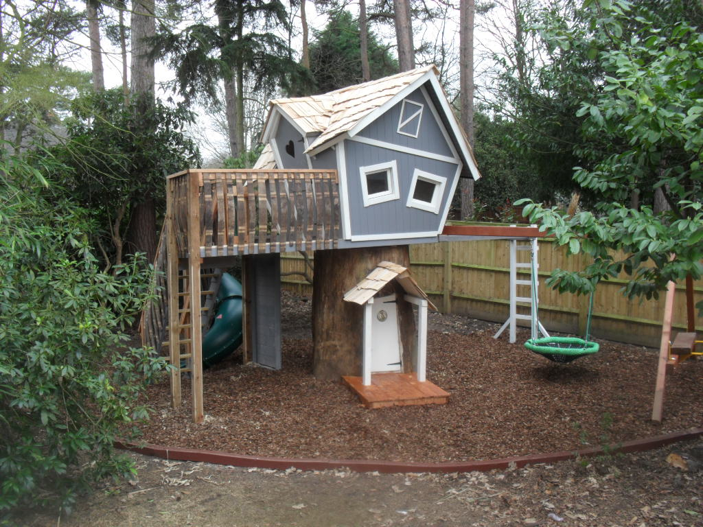 Crooked treehouse superior play enchanted creations for Whimsical playhouses