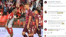 Comentarios de Robertone y Balliu a la publicación de Lazo en redes sociales.