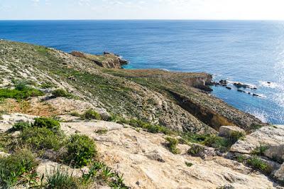 Geocaching auf Malta: Der Süden - die Tempel von Ħaġar Qim und Mnajdra - Blick in die Bucht