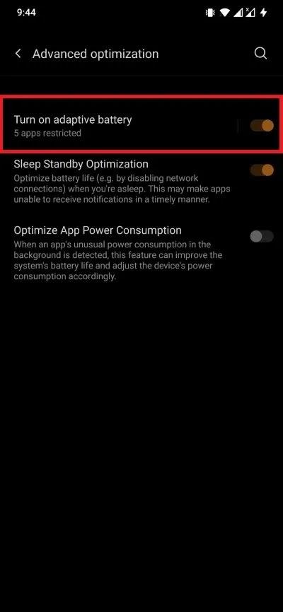 إخطارات Android للبطارية التكيفية