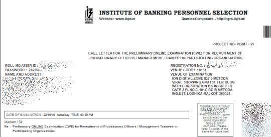 ibps-po-prelims-call-letter, IBPS PO exam hall ticket