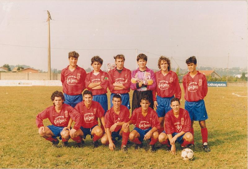 A.D.R. Numancia de Ares. Afeccionados 1996-97 II Trofeo Corbalán Verán do 1996 Javi Torrente, Aquilino, Fran Bardanca, Bose, Fuco, Gaizka Beto, Dani René, Oliveira, Jose e Pedrito Prados Vellos (Ares)
