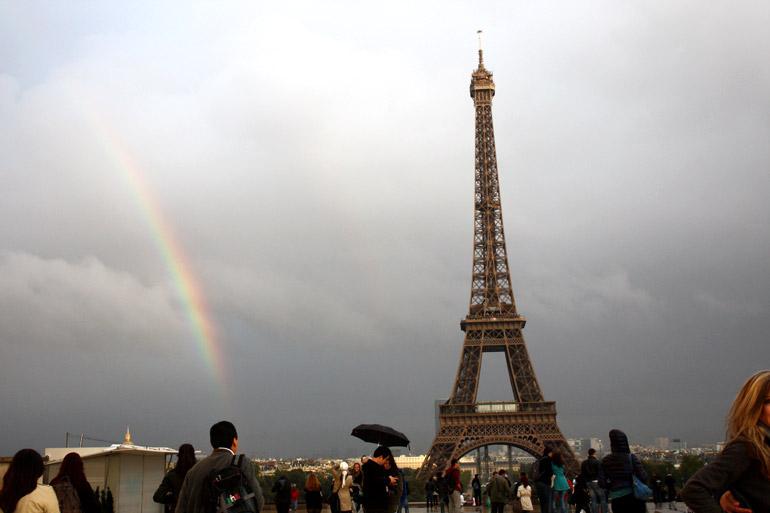 paris eiffel tower rainbow
