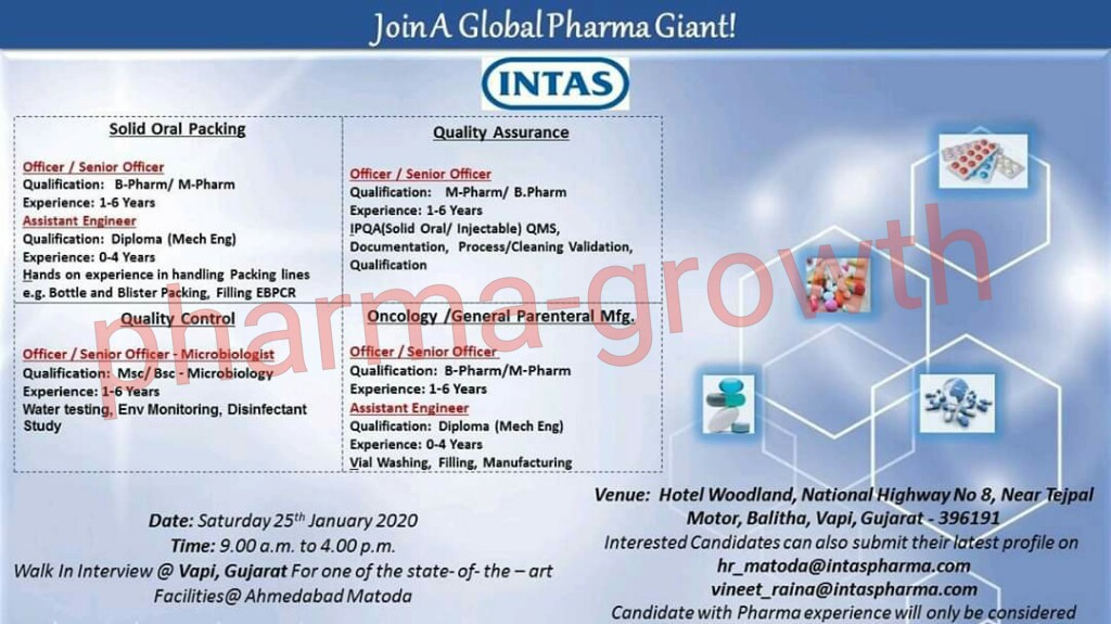 Intas Pharma - Walk in interview for Production, Packing, Quality Assurance, Quality Control on 25th Jan 2020