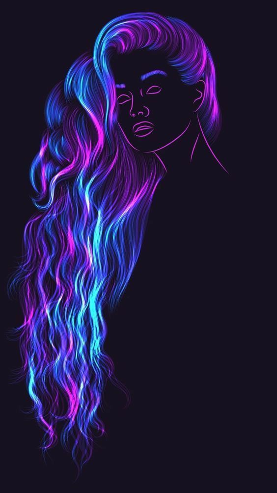 Neon fantasy girl photo
