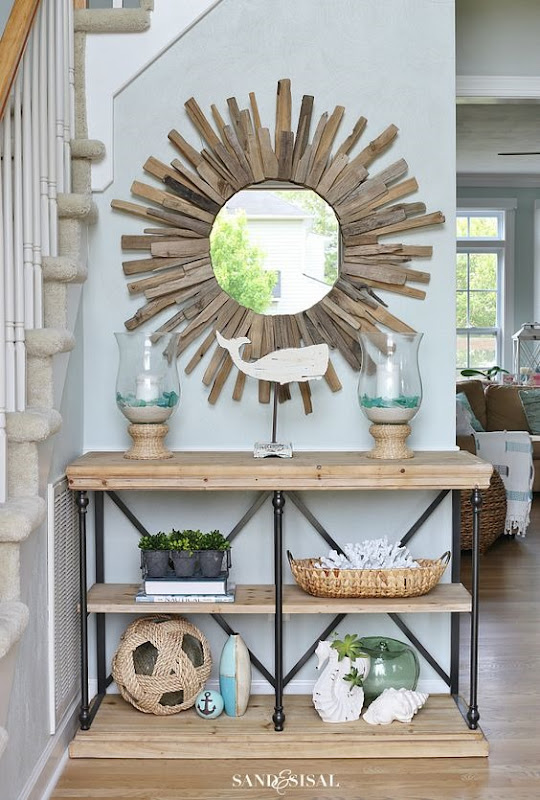 console table sand and sisal
