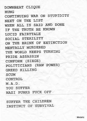 Napalm Death : set-list @ Le Forum, Vauréal 11/11/2010
