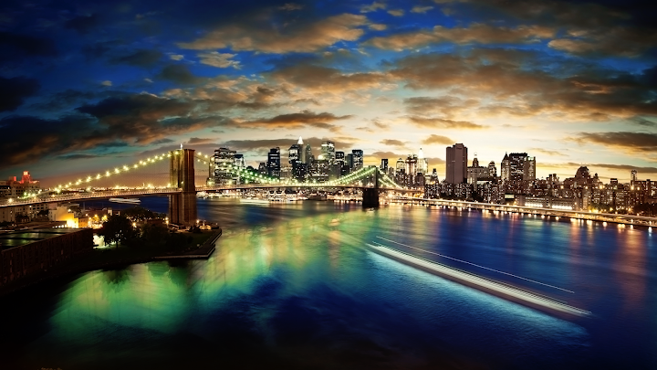 new york panorama wallpaper, night skyline