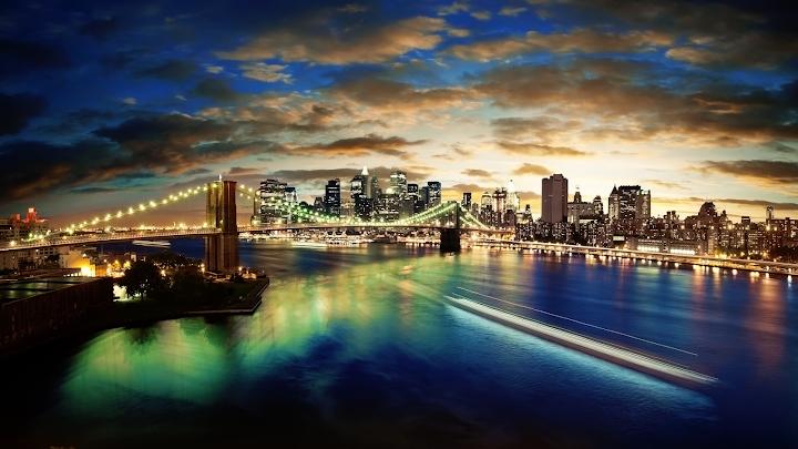 new york panorama wallpaper, night skyline