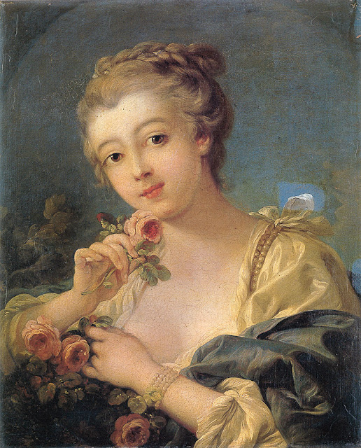 Francois Boucher - Young Woman with a Bouquet of Roses