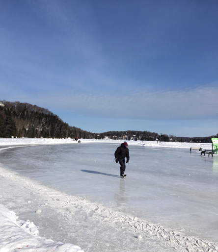 Skating at the municipal rink on the lake at Sainte-Marguerite-du-Lac-Masson