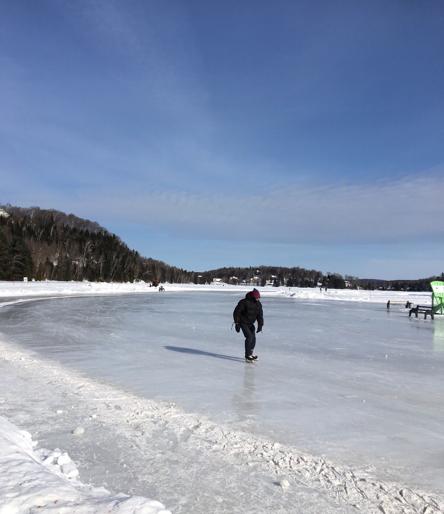 Skating at the municipal rink on the lake at Sainte-Marguerite-du-Lac-Masson
