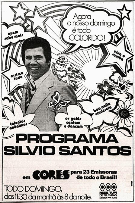 anuncio Rede Tupi - programa Silvio Santos - 1976