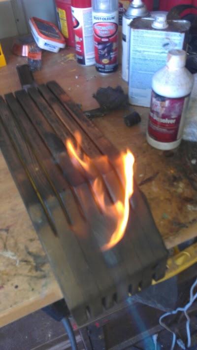 Burning a knife Block
