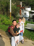 Qing-hong with Zach and Josh - showing us a new hiking trail
