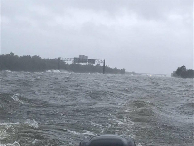 Flooding on the I-10 freeway outside Winnie Texas, just west of Beaumont, caued by Hurricane Harvey on 29 August 2017. Photo: Diana Christensen Thornton / The Weather Channel