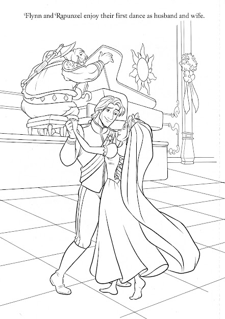 Rapunzel Wedding Coloring Papges   Princess Rapunzel And Flynn Coloring  Pages Disney Coloring