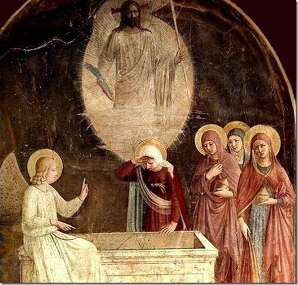 Fra_Angelico Auferstehung leeres Grab mit Frauen Engel UND JEsus