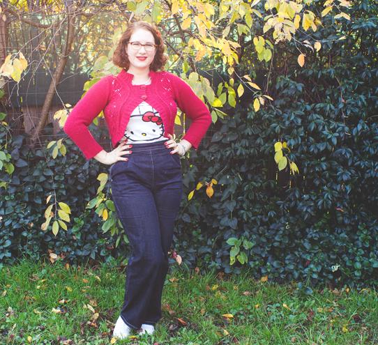 1940s casual; repro jeans, cute tee & a bolero | Lavender & Twill