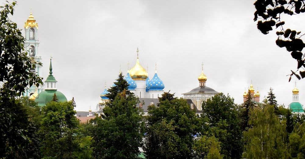 the monastery spires, viewed from a scenic point atop a hill where the toy museum sits....