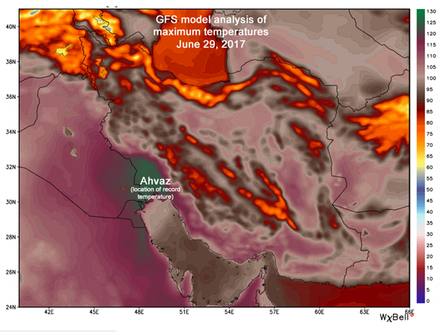 GFS weather model analysis of maximum temperatures in the Middle East, on 29 June 2017. Graphic: WeatherBell.com