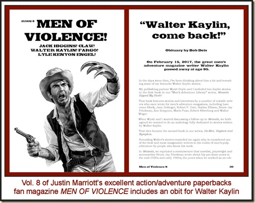 Men of Violence, Vol 8, with Walter Kaylin obit REV