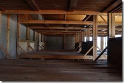 interieur d'un baraquement, lits en bois