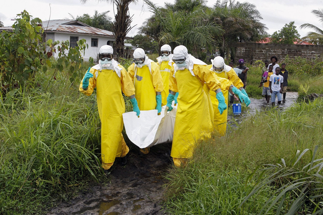 Liberian nurses carry the dead body of someone suspected of dying from the Ebola virus. Photo: Ahmed Jallanzo / European Pressphoto Agency