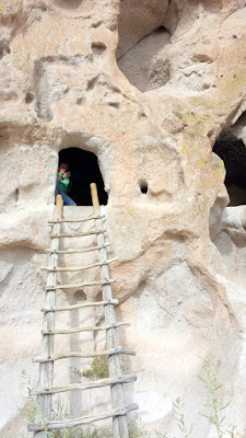 These cave rooms in the Bandelier National Monument, classified as cavates, were dug out of the cliff wall. Be sure to stay on the trail and only enter caves that have ladders because you don't want to contribute to eroding the tuff.
