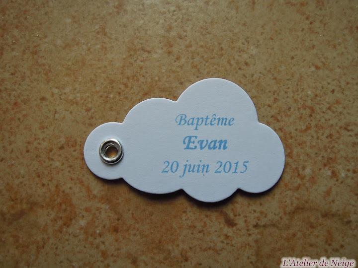 133 - Etiquettes à dragées Baptême  Evan 20 juin 2015