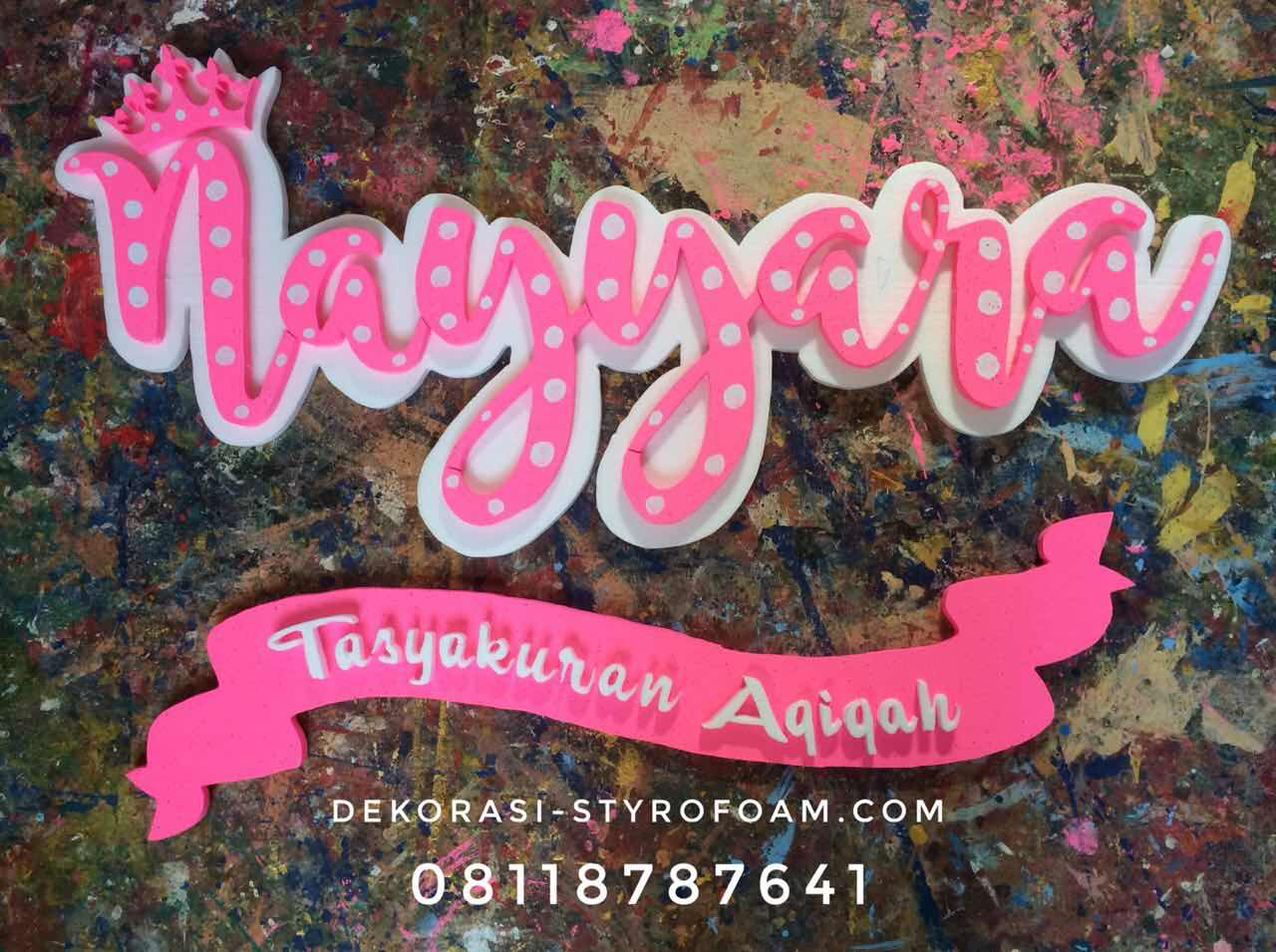 dekorasi aqiqah styrofoam nama