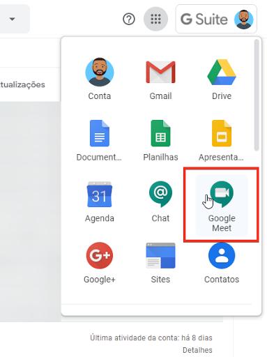 Acessando o Google Meet