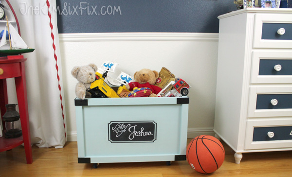 Rolling toybox with chalkboard label