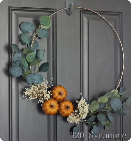 gold hoop fall wreath pumpkin
