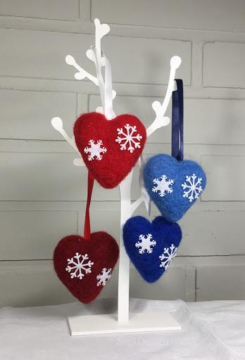 sydän neulahuovutus koriste joulu