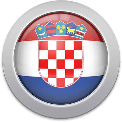 Croatian flag icon with a silver frame
