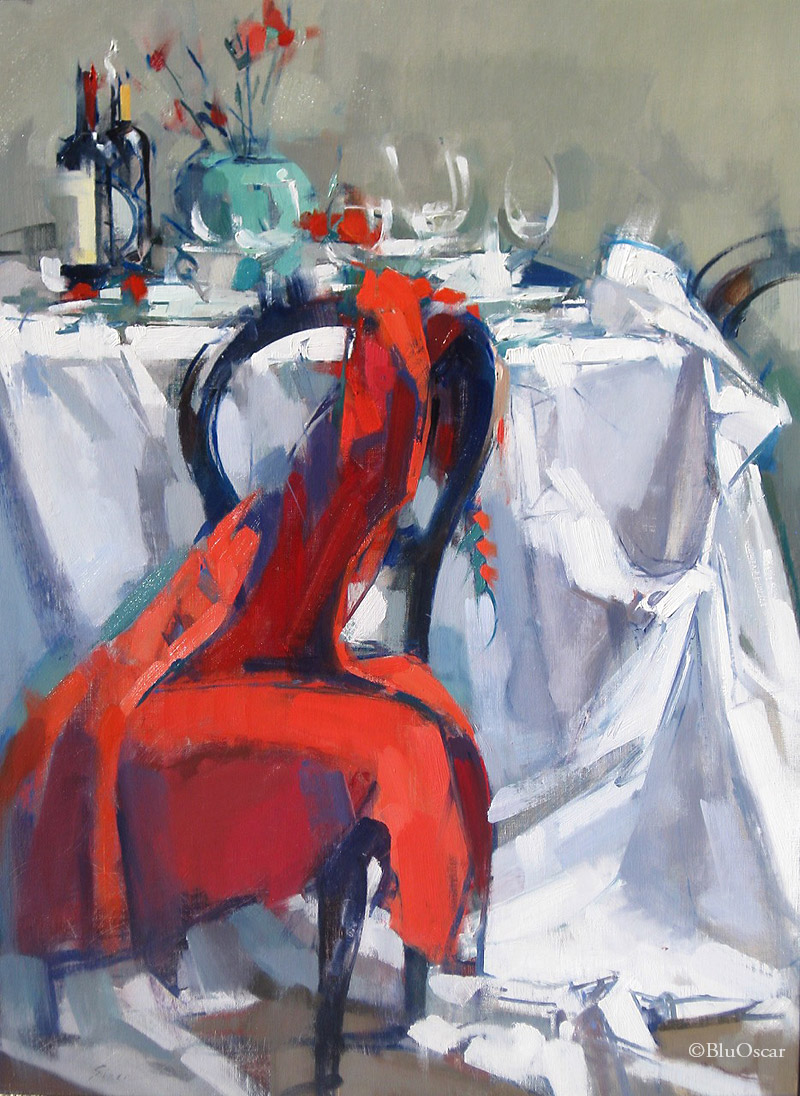 5 Long Red Dress on Chair 2016 61x82