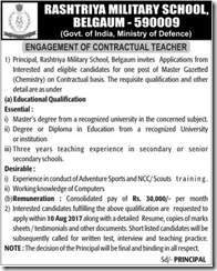 Rashtriya Military School Belgaum Advertisement 2017 www.indgovtjobs.in