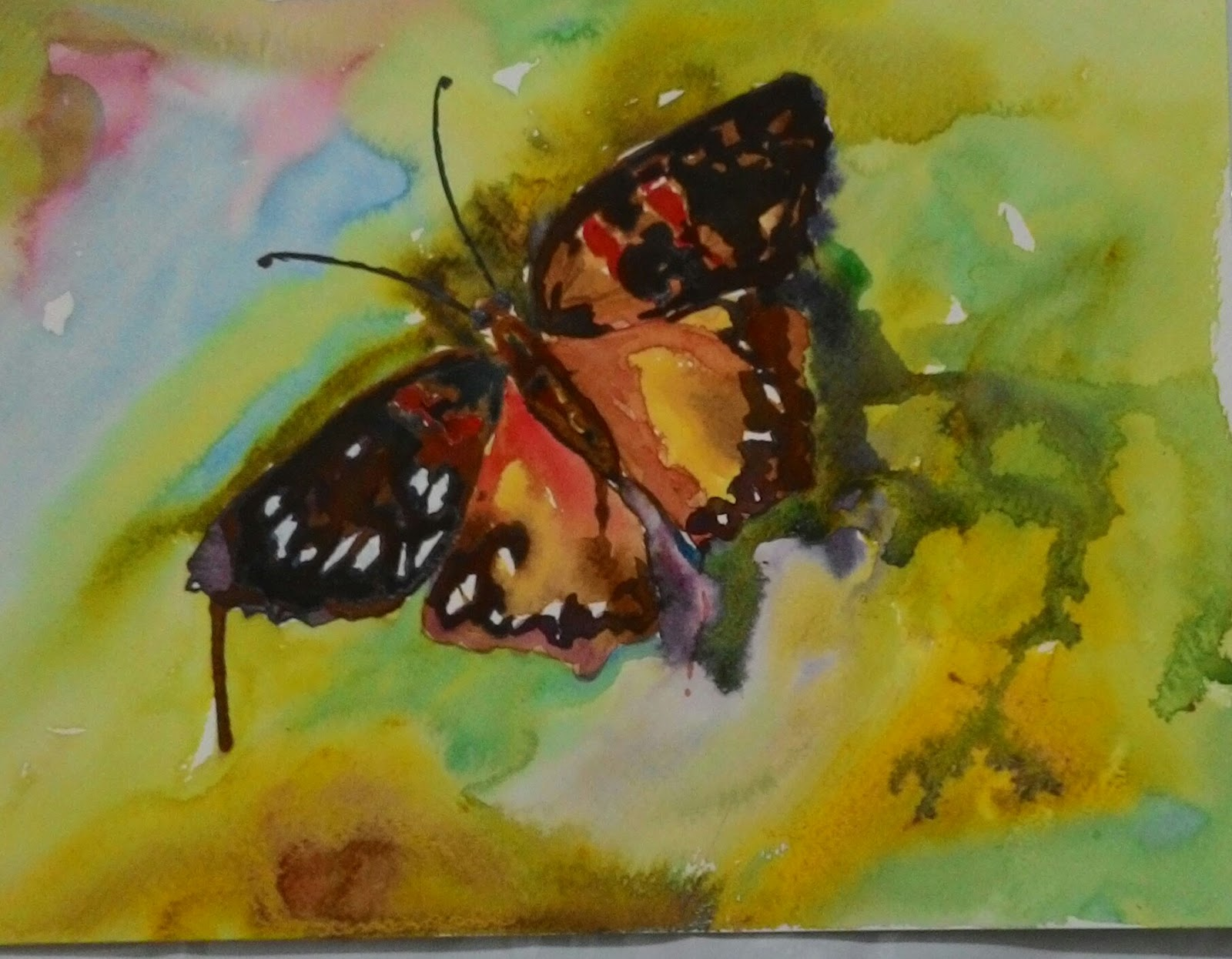 Painting A Butterfly In Watercolors