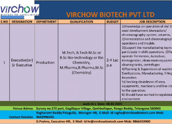 Virchow Biotech Ltd - Urgently Opening for Production, Regulatory Affairs | Apply Now