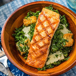 Kale Caesar Salad with Grilled Salmon.