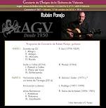 Programa del Concierto de Rubén Parejo, en Amigos de la Guitarra de Valencia