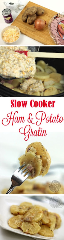 Slow Cooker Cheesy Ham and Potato Gratin