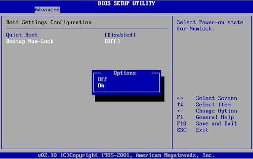Numeric Lock BIOS