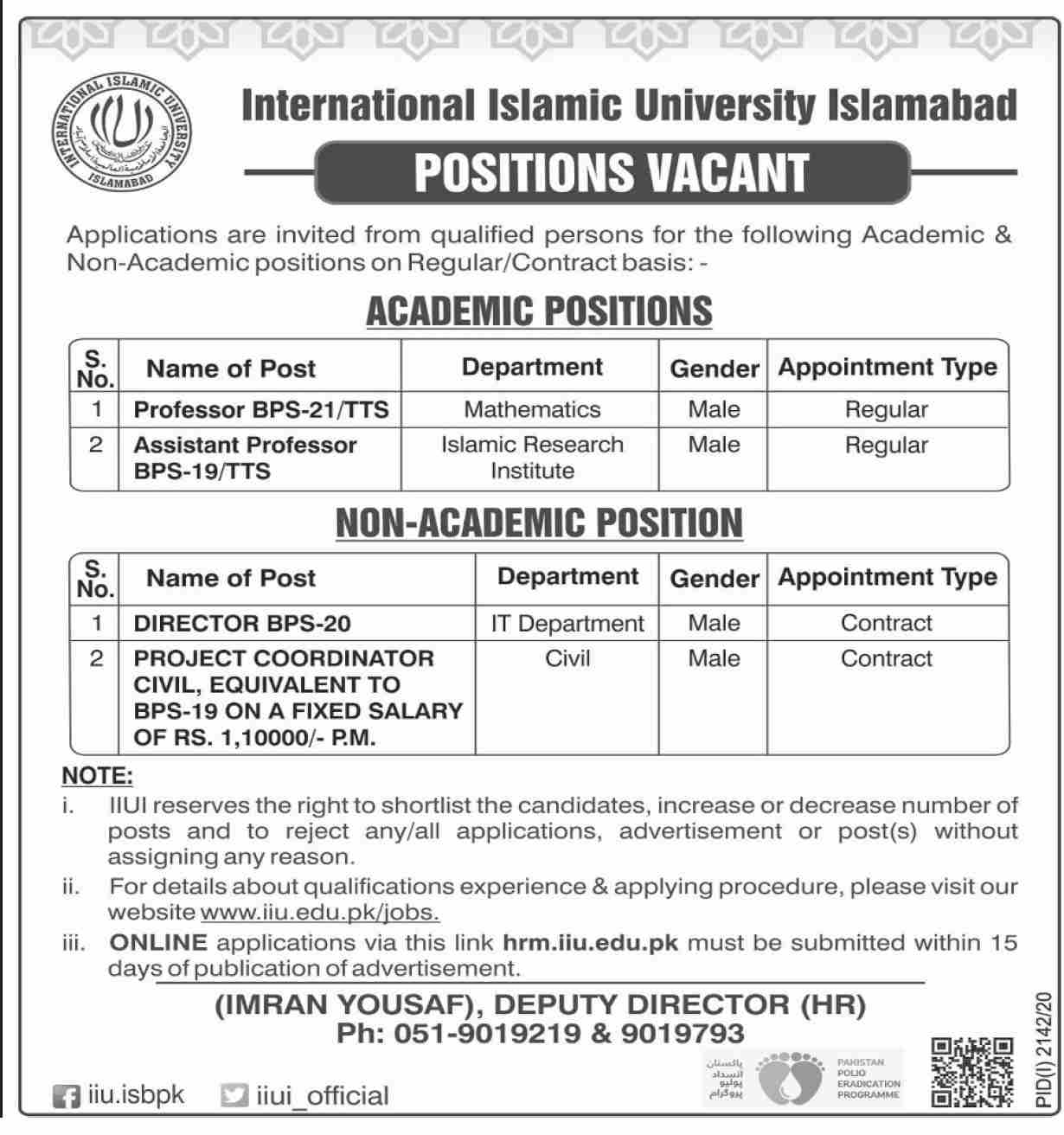 International Islamic University Jobs October 2020